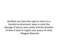 Time, Mind, and Peace: Anytime you have the urge to return to a  harmful environment, keep in mind the  damage it had on your sanity and the duration  of time it took to regain your peace of mind.  - Meggan Roxanne