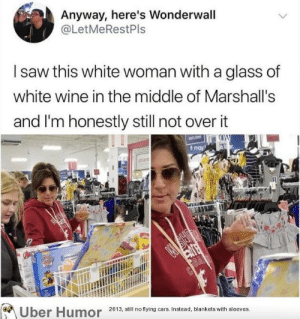 failnation:  Goals: Anyway, here's Wonderwall  @LetMeRestPls  saw this white woman with a glass of  white wine in the middle of Marshall's  and I'm honestly still not over it  t may  2013, still no flying cars. Instead, blankets with sleeves. failnation:  Goals
