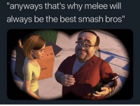"Smashing, Best, and Smash Bros: anyways that's why melee will  always be the best smash bros""  Solts me🎮irl"