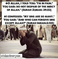 """Being Alone, Ash, and Life: AO ALLAH, I TOLD YOU: """"I'M IN PAIN.""""  YOU SAID: DO NOT DESPAIR OF THE MERCY  OF ALLAH."""" (SURAH ZUMAR: 39:53)  GI CONFESSED: """"MY SINS ARE SO MANY.""""  YOU SAID: """"AND WHO CAN FORGIVE SINS  EXCEPT ALLAH?"""" (SURAH IMRAN:3135)  @islam4everyone- ・・・ ✿O Allah, I told You: """"I'm in pain."""" . You said: do not despair of the mercy of Allah."""" (Surah Zumar: 39:53) ⊹. . ✿I told You: """"nobody knows what is in my heart."""" . You said: """"Verily, in the remembrance of Allah do hearts find rest"""" (Surah Rad: 13:28) ⊹⊱ . ✿I confided: """"many people hurt me."""" . You said: """"So pardon them and ask forgiveness for them"""" (Surah Imran 3:159) ⊹⊱ . ✿I let You know: """"I feel alone."""" . You said: """"We are closer to him [man] than [his] jugular vein."""" (Surah Qaf: 50:16) ⊹. . ✿I confessed: """"My sins are so many."""" . You said: """"And who can forgive sins except Allah?"""" (Surah Imran:3:135) ⊹. . ✿I pleaded: """"do not leave me."""" . You said: """"so remember Me; I will re member you…"""" (Surah Baqarah: 2:152) ⊹. . ⊱✿I complained: """"I'm facing a lot of difficulties in life."""" . You said: """"And whoever fears Allah, He will make for him a way out."""" (SurahTalaq: 65:2) ⊹⊱. . ✿I told You: """"O Lord I need hope."""" . You said: """"Indeed, with hardship [will come] ease."""" (Surah Ash-Sharh 94:6) ⊹⊱. . ✿I confided to You: """"I have many dreams that I want to come true."""" . You said:""""Call upon Me; I will respond to you.""""(Surah Ghafir 40:60) سُبْحَانَ اللهِ وَبِحَمْدِهِ *سُبْحَانَ اللهِ الْعَظِيْمِ Like,Comment and SHARE"""