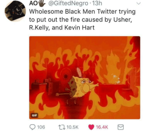 Fire, Gif, and Kevin Hart: AO  @GiftedNegro  13h  Wholesome Black Men Twitter trying  to put out the fire caused by Usher,  R.Kelly, and Kevin Hart  GIF  9106  10.5K  16.4K Black twitter took some Ls