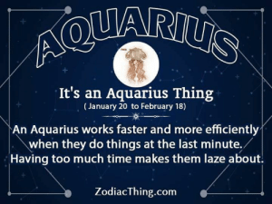 Too Much, Aquarius, and Time: Ao  It's an Aquarius Thing  (January 20 to February 18)  An Aquarius works faster and more efficiently  when they do things at the last minute./  Having too much time makes them laze about.  ZodiacThing.com