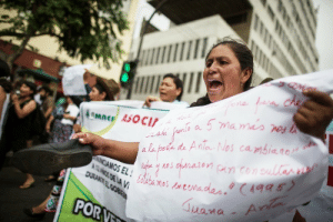indigenous-caribbean:    Peruvian Andean women, victims of forced sterilizations during the administration of Peru's former President Alberto Fujimori, attend a protest in Lima, capital of Peru, on February 10, 2016. During the government of Alberto Fujimori, forced sterilizations were performed on thousands of women as part of the mid-1990s program of former president Alberto Fujimori who argued that a lower birth rate was crucial to eliminating poverty in Peru. (source): AOSEL  JuanaA  PORV indigenous-caribbean:    Peruvian Andean women, victims of forced sterilizations during the administration of Peru's former President Alberto Fujimori, attend a protest in Lima, capital of Peru, on February 10, 2016. During the government of Alberto Fujimori, forced sterilizations were performed on thousands of women as part of the mid-1990s program of former president Alberto Fujimori who argued that a lower birth rate was crucial to eliminating poverty in Peru. (source)