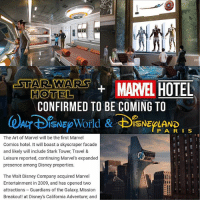 Ah SHIT! Gotta start saving nerd geek marvel ironman captainamerica spiderman guardiansofthegalaxy deadpool xmen starwars anime batman superman justiceleague comics marvel disney mcu blackpanther captainmarvel stanlee cosplay dc sith jedi disneyworld disneyland: AOTWAMARVEL HOTEL  CONFIRMED TO BE COMING TO  HOTEL  PA R I S  The Art of Marvel will be the first Marvel  Comics hotel. It will boast a skyscraper facade  and likely will include Stark Tower, Travel &  Leisure reported, continuing Marvel's expanded  presence among Disney properties.  The Walt Disney Company acquired Marvel  Entertainment in 2009, and has opened two  attractions Guardians of the Galaxy, Mission  Breakout! at Disney's California Adventure; and Ah SHIT! Gotta start saving nerd geek marvel ironman captainamerica spiderman guardiansofthegalaxy deadpool xmen starwars anime batman superman justiceleague comics marvel disney mcu blackpanther captainmarvel stanlee cosplay dc sith jedi disneyworld disneyland