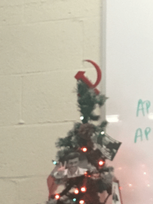 My history room has a Christmas tree with a communist hammer and sickle as the star: AP  AP My history room has a Christmas tree with a communist hammer and sickle as the star