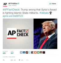 If someone tries to bring up fact checks from last nights debate, show them this gem. This is a bold, flat out lie. Journalistic integrity is dead, and fact check doesn't mean a damn thing this year.: AP AP Politics  Follow  AP #APFactCheck: Trump wrong that Syria's Assad  is fighting Islamic State militants. #debate  apne.ws/2e 68TZ2  AP  FACT  CHECK  RETWEETS LIKES  482  367  7:44 PM 9 Oct 2016  t 482  367 If someone tries to bring up fact checks from last nights debate, show them this gem. This is a bold, flat out lie. Journalistic integrity is dead, and fact check doesn't mean a damn thing this year.