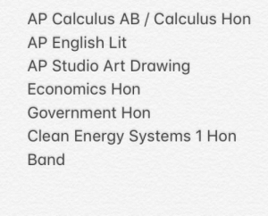 Since Everyone is doing it... HoWs My SenIoR ScHedUle LoOkiNg? Is it actually competitive?: AP Calculus AB/ Calculus Hon  AP English Lit  AP Studio Art Drawing  Economics Hon  Government Hon  Clean Energy Systems 1 Hon  Band Since Everyone is doing it... HoWs My SenIoR ScHedUle LoOkiNg? Is it actually competitive?