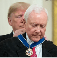"President Donald Trump on Friday awarded the Presidential Medal of Freedom to seven distinguished individuals. Recipients were Sen. Orrin Hatch, Miriam Adelson, Elvis Presley (award accepted by Jack Soden, CEO of Elvis Presley Enterprises), Antonin Scalia (award accepted by his widow, Maureen Scalia), Alan Page, Roger Staubach and George Herman ""Babe Ruth"" Jr (award accepted by his grandson, Thomas Stevens).: AP Photo/Andrew Hamik) President Donald Trump on Friday awarded the Presidential Medal of Freedom to seven distinguished individuals. Recipients were Sen. Orrin Hatch, Miriam Adelson, Elvis Presley (award accepted by Jack Soden, CEO of Elvis Presley Enterprises), Antonin Scalia (award accepted by his widow, Maureen Scalia), Alan Page, Roger Staubach and George Herman ""Babe Ruth"" Jr (award accepted by his grandson, Thomas Stevens)."