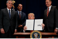 Donald Trump, Friday, and Memes: (AP Photo/Carolyn Kaster) President Donald Trump signed a presidential memorandum Friday aimed at reducing regulatory burdens that harm reliable water access in the West.