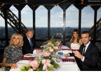 President DonaldTrump and First Lady MelaniaTrump had dinner with French President Emmanuel Macron and his wife Brigitte Macron at the Jules Verne Restaurant on the Eiffel Tower on Thursday.: AP Photo Carolyn Kaster) President DonaldTrump and First Lady MelaniaTrump had dinner with French President Emmanuel Macron and his wife Brigitte Macron at the Jules Verne Restaurant on the Eiffel Tower on Thursday.