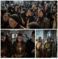 People attend Christmas Eve's Mass in the Assyrian Orthodox church of Mart Shmoni, in Bartella, Iraq. Displaced when ISIS seized their town in 2014, they were bused into the town from Irbil, where they have lived for more than two years.: AP Photo/Cengiz Yar People attend Christmas Eve's Mass in the Assyrian Orthodox church of Mart Shmoni, in Bartella, Iraq. Displaced when ISIS seized their town in 2014, they were bused into the town from Irbil, where they have lived for more than two years.