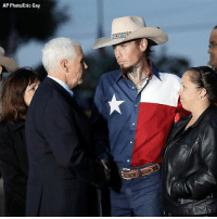 Church, Memes, and Texas: AP Photo/Eric Gay Vice President MikePence and his wife Karen met with Johnnie Langendorff, one of the men who helped take down the Texas church shooter in Sutherland Springs, TX.
