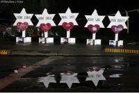A memorial outside the Tree of Life Synagogue in Pittsburgh includes Stars of David with names of those killed in Saturday's shooting.: AP Photo/Gene J. Puskar  SYLVANSIMOBERINICE Smon  DANIEL STEi  ELVI WAX  IRVING YOUIGER A memorial outside the Tree of Life Synagogue in Pittsburgh includes Stars of David with names of those killed in Saturday's shooting.