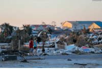 Memes, Beach, and Death: AP Photo/Gerald Herbert People walk amidst rubble in the aftermath of Hurricane Michael in Mexico Beach, Florida. As search and rescue efforts intensify on Sunday in the beachside communities that Hurricane Michael turned into a debris-filled wasteland, authorities believe it's a matter of time until the death toll will rise.