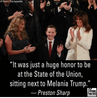 "Today on ""Fox & Friends,"" 12-year-old Preston Sharp talked about what it was like to attend the State of the Union. Preston was invited to the State of the Union for organizing the placement of more than 40,000 American flags and red carnations on soldiers' graves.: AP Photo/J.Scott Applewhite  ""It was just a huge honor to be  at the State of the Union,  sitting next to Melania Trump.  Preston Sharp  FOX  NEWS Today on ""Fox & Friends,"" 12-year-old Preston Sharp talked about what it was like to attend the State of the Union. Preston was invited to the State of the Union for organizing the placement of more than 40,000 American flags and red carnations on soldiers' graves."