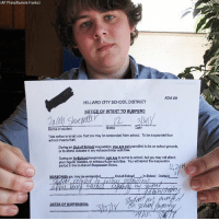 """Politics [doesn't] belong in the school...Students shouldn't be pressured into taking a side."" Ohio high school student Jacob Shoemaker holds a copy of his school suspension slip after he decided not to participate in Wednesday's school walkouts over gun violence, opting instead to remain in the classroom.: (AP Photo/Kantele Franko)  ADM 403  HILLIARD CITY SCHOOL DISTRICT  NOTICE OF INTENT TO SUSPEND  Grade  Name of student  This notice ls to tall you that you may be susponded from echool. To be suspended from  school means that:  During an Qutof School suspenslon, you ae net permilttod to be on school grounds,  or to attend ciasses or any extrecurroular activtles  During an In-School supenalon, you are to come to school, but you may not adtend  your rogular olasses, or extracufoular activitos. You wli opand the suspens'on  poriod in tho In-School Suspension Room.  DATES OF BUSPENSION ""Politics [doesn't] belong in the school...Students shouldn't be pressured into taking a side."" Ohio high school student Jacob Shoemaker holds a copy of his school suspension slip after he decided not to participate in Wednesday's school walkouts over gun violence, opting instead to remain in the classroom."
