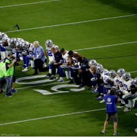 BREAKING: The DallasCowboys, led by owner JerryJones, took a knee prior to the nationalanthem ahead of Monday night's NFL football game against the ArizonaCardinals.: AP Photo/Matt York) BREAKING: The DallasCowboys, led by owner JerryJones, took a knee prior to the nationalanthem ahead of Monday night's NFL football game against the ArizonaCardinals.