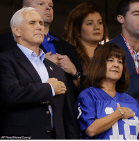 Indianapolis Colts, Memes, and Indianapolis Colts: (AP Photo/Michael Conroy) Vice President MikePence and Second Lady Karen Pence stood for the National Anthem ahead of the Indianapolis Colts game; they also greeted and took selfies with supporters.