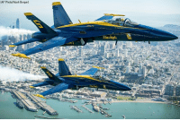 Memes, Noah, and Flight: (AP Photo/Noah Berger) In advance of Fleet Week performances, @USNavyBlueAngels fly over the San Francisco Bay during a photo flight on Thursday, October 5.