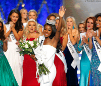 America, Memes, and New York: AP Photo/Noah K. Murray Miss New York Nia Franklin reacts after being crowned Miss America 2019 on Sunday in Atlantic City, New Jersey.