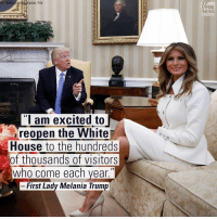"""First Lady MelaniaTrump has announced the reopening of the White House visitors office, which will resume public tours on Tuesday, March 7th.: AP Photo/oar  File  """"I am excited to  reopen the White  House to the hundreds  of thousands of visitors  who come each year  II  First Lady Melania Trump  FOX  NEWS First Lady MelaniaTrump has announced the reopening of the White House visitors office, which will resume public tours on Tuesday, March 7th."""