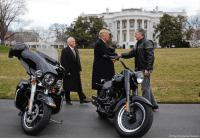 President DonaldTrump and Vice President MikePence checked out HarleyDavidson motorcycles at the White House with the company's President and CEO Matthew S. Levatich.: AP Photo/Pablo MartiAez Monsivais) President DonaldTrump and Vice President MikePence checked out HarleyDavidson motorcycles at the White House with the company's President and CEO Matthew S. Levatich.