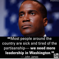 "Memes, News, and Fox News: AP Photo/Paul Sancya  Most people around the  country are sick and tired of the  partisanship we need more  leadership in Washington.'*1  John James  FOX  NEWS  chan neI On ""America's Newsroom,"" Republican U.S. Senate candidate John James discussed the impact of the Kavanaugh confirmation battle on the upcoming midterm elections."
