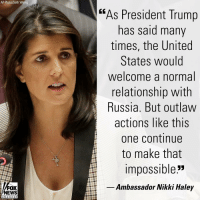 """At an emergency U.N. Security Council Meeting on Ukraine, outgoing U.S. Ambassador @nikkihaley delivered remarks denouncing Russia's aggression against Ukraine.: AP Photo/Seth Wenig  """"As President Trump  has said many  times, the United  States would  welcome a normal  relationship with  Russia. But outlaw  actions like this  one continue  to make that  impossible""""  Ambassador Nikki Haley  NEWS  chan ne I At an emergency U.N. Security Council Meeting on Ukraine, outgoing U.S. Ambassador @nikkihaley delivered remarks denouncing Russia's aggression against Ukraine."""