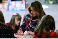 Melania Trump, Memes, and Toys: AP Photo/Susan Walsh @flotus Melania Trump participated in a Toys for Tots event at Joint Base Anacostia-Bolling on Tuesday.