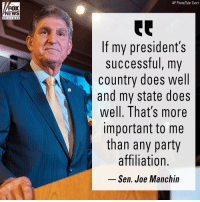 "Memes, News, and Party: AP Photo/Tyler Evert  FOX  NEWS  channe I  If my president's  successful, my  country does well  and my state does  well. That's more  important to me  than any party  affiliation.  Sen. Joe Manchin On ""Your World with Neil Cavuto,"" West Virginia Senator Joe Manchin III talked about working across the aisle and with President Trump."
