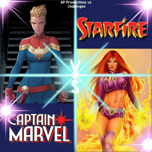 Memes, Marvel, and Seattle: AP Productions vs  Chalenges  STARFİRE  APTAIN  MARVEL All out Battle Who takes this and why Location Seattle Washington Winner by KO or Worse Random Encounter  Captain Marvel VS Starfire   Now Go Marvel vs DC Kallark
