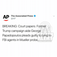 Fbi, Memes, and Trump: AP The Associated Press o  @AP  BREAKING: Court papers: Former  Trump campaign aide George  Papadopoulos pleads guilty to lying to  FBl agents in Mueller probe,  BALLERALERT.COM Former Trump aide pleads guilty to making false statements to FBI letthesingingbegin