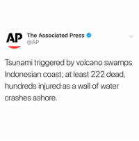 According to reports, a Tsunami has hit the coast of #Indonesia killing at least 222 people and injuring hundreds more. Our thoughts and prayers go out to the victims and their families. 🙏💯 @AP https://t.co/4H80oGOroC: AP The Associated Press o  @AP  Tsunami triggered by volcano swamps  Indonesian coast; at least 222 dead,  hundreds injured as a wall of water  crashes ashore. According to reports, a Tsunami has hit the coast of #Indonesia killing at least 222 people and injuring hundreds more. Our thoughts and prayers go out to the victims and their families. 🙏💯 @AP https://t.co/4H80oGOroC