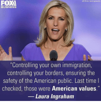 """BINGO: (APAota/J Scott Applewhite)  BUSINESS  """"Controlling your own immigration,  controlling your borders, ensuring the  Safety of the American public. Last time l  checked, those were American values.  Laura Ingraham BINGO"""