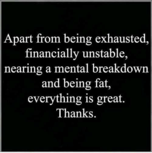 Memes, Fat, and 🤖: Apart from being exhausted  financially unstable,  nearing a mental breakdown  and being fat,  everything is great.  Thanks.