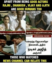 Hatsoff ❤👏  #HaRi: APART FROM BEING G00D ACTORS  RAJNI DHANUSH, VIJAY AND AJITH  ARE GOOD HUMANS TOO  BREAKING NEWS  86IT  THOSE WHO WATCHED  NEWS CHANNEL CAN RELATE THIS Hatsoff ❤👏  #HaRi