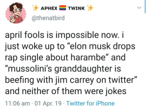 "Iphone, Jim Carrey, and Rap: APHEXTWINK  @thenatbird  april fools is impossible now, i  just woke up to ""elon musk drops  rap single about harambe"" and  ""mussolini's granddaughter is  beefing with jim carrey on twitter""  and neither of them were jokes  11:06 am 01 Apr. 19 Twitter for iPhone wild world were living"
