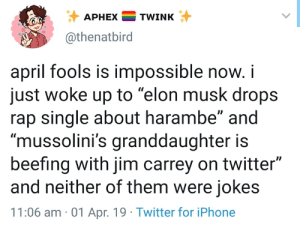 "Iphone, Jim Carrey, and Rap: APHEXTWINK  @thenatbird  april fools is impossible now.i  just woke up to ""elon musk drops  rap single about harambe"" and  ""mussolini's granddaughter is  beefing with jim carrey on twitter""  and neither of them were jokes  11:06 am 01 Apr. 19 Twitter for iPhone"