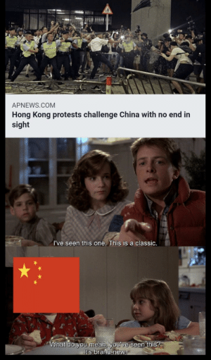 Saw, China, and History: APNEWS.COM  Hong Kong protests challenge China with no end in  sight  I've seen this one. This is a classic.  What do you mean, you've seen this?  It's brand-new. Saw it on r/dankmemes credit to u/Abruptsystem