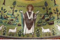 "Tumblr, Blog, and Http: APOLENARIS arthistorycq:  From a non art historical stance it looks like he's saying "" Hey look at all my sweet sheep. Oh and my highly organized rock garden""  cavetocanvas:  Mosaic in the Basilica of Sant'Apollinaire in Classe, Ravenna, Italy, c. 549"