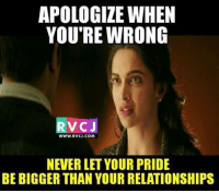 True rvcjinsta: APOLOGIZE WHEN  YOU'RE WRONG  VC J  WWW, RVCJ, COM  NEVERLET YOUR PRIDE  BE BIGGER THAN YOUR RELATIONSHIPS True rvcjinsta