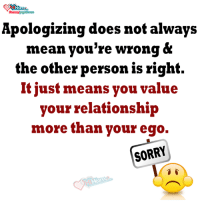 Your Wrong: Apologizing does not always  mean you're wrong &  the other person is right.  It just means you value  your relationship  more than your ego.  SORRY