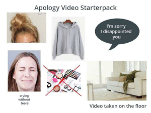 Apology Videos Starterpack: Apology Video Starterpack  I'm sorry  I disappointed  you  crying  without  tears  Video taken on the floor Apology Videos Starterpack