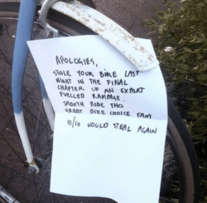 Stealing a bike in Canada: APoLohIes  AHT IAN THE FIN  CHAPTER oF AN Ex foR  VELLED KAMIAAE  SlooTH RIDE THo  GREAT GIKE CHOICE FAm Stealing a bike in Canada