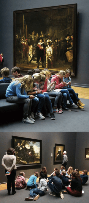 "apoorlywrittenfemalecharacter: theperksofbeingaperk:  ""…last year this photograph of children looking at their smartphones by Rembrandt's 'The Night Watch' in the Rijksmuseum in Amsterdam [went viral.] It was often accompanied by outraged, dispirited comments such as ""a perfect metaphor for our age,"" ""the end of civilization"" or ""a sad picture of our society"". …It turns out that the Rijksmuseum has an app that, among other things, contains guided tours and further information about the works on display. As part of their visit to the museum, the children, who minutes earlier had admired the art and listened attentively to explanations by expert adults, had been instructed to complete an assignment by their school teachers, using, among other things, the museum's excellent smartphone app….   The tragic thing is that this — the truth — will never go viral. So, I wonder, what is more likely to bring about the death of civilization, children using smartphones to learn about art or the willful ignorance of adults who are too quick to make assumptions?"" José Picardo, Medium Read more    #adults are fucking idiots#me included but i mean proper adults#like old adults   : apoorlywrittenfemalecharacter: theperksofbeingaperk:  ""…last year this photograph of children looking at their smartphones by Rembrandt's 'The Night Watch' in the Rijksmuseum in Amsterdam [went viral.] It was often accompanied by outraged, dispirited comments such as ""a perfect metaphor for our age,"" ""the end of civilization"" or ""a sad picture of our society"". …It turns out that the Rijksmuseum has an app that, among other things, contains guided tours and further information about the works on display. As part of their visit to the museum, the children, who minutes earlier had admired the art and listened attentively to explanations by expert adults, had been instructed to complete an assignment by their school teachers, using, among other things, the museum's excellent smartphone app….   The tragic thing is that this — the truth — will never go viral. So, I wonder, what is more likely to bring about the death of civilization, children using smartphones to learn about art or the willful ignorance of adults who are too quick to make assumptions?"" José Picardo, Medium Read more    #adults are fucking idiots#me included but i mean proper adults#like old adults"