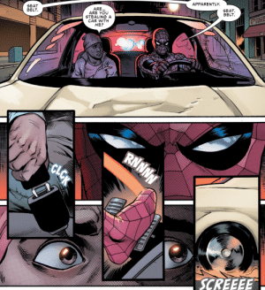 "why-i-love-comics:  Friendly Neighborhood Spider-Man #5 - ""Not Running"" (2019)written by Tom Taylorart by Yildiray Cinar & Nolan Woodard: APPARENTLY  SEAT  BELT  SEAT  BELT  ARE...  ARE YOU  STEALING A  CAR WITH  ME?  RNNNN  SCREEEE  CLOK why-i-love-comics:  Friendly Neighborhood Spider-Man #5 - ""Not Running"" (2019)written by Tom Taylorart by Yildiray Cinar & Nolan Woodard"