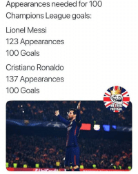 Anaconda, Cristiano Ronaldo, and Football: Appearances needed for 100  Champions League goals:  Lionel Messi  123 Appearances  100 Goals  Cristiano Ronaldo  137 Appearances  100 Goals  夙.  WE TROLL  FOOTBALL @WeTrollFootball was voted The Best Football Page on Instagram for 2017! Congratulations guys!🏆⚽️