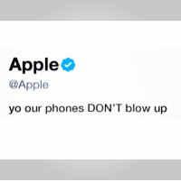 Apple, Memes, and Yo: Apple  @Apple  yo our phones DON'T blow up