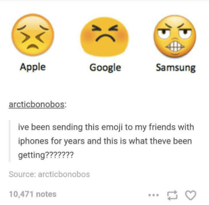 Apple, Emoji, and Friends: Apple  Google  Samsung  arcticbonobos:  ive been sending this emoji to my friends with  iphones for years and this is what theve been  getting???????  Source: arcticbonobos  10,471 notes What the fuck, Samsung