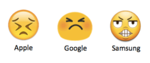 Apple, Emoji, and Friends: Apple  Google  Samsung nerdgul:  arcticbonobos:  ive been sending this emoji to my friends with iphones for years and this is what theve been getting???????   These are 3 completly seperate emotions